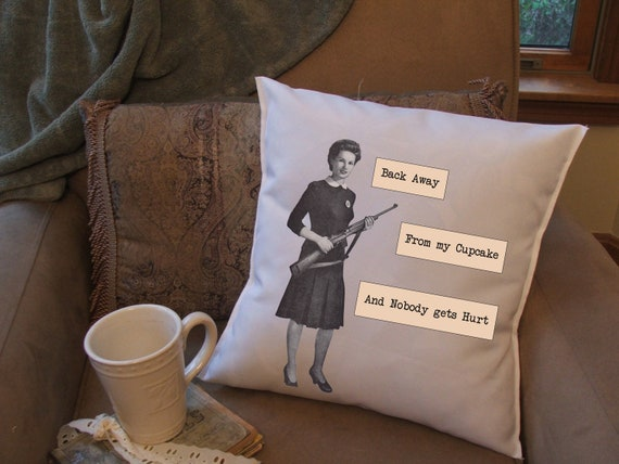 Funny Throw Pillow Covers : Items similar to cupcake throw pillow cover, funny pillow cover on Etsy