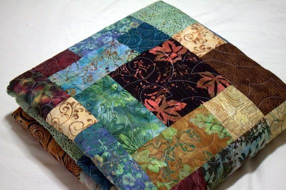 "Golden Harvest Batik Lap Quilt rust, teal, green and brown 57"" x 75"""