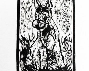Lakeland Terrier Original Woodblock Print