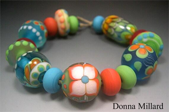 HANDMADE LAMPWORK Glass Beads SET Donna Millard sra lamp work orange yellow sunflower turquoise aqua green lotus