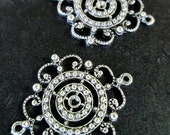 4 heavy duty filigree connector pendant charms, silver plate, B25