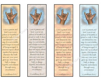 Printable Bookmarks, LOVE, Sign Language Art, Bible Verses, Corinthians 13, Love Chapter, Deaf, Finger Spell, Original Art