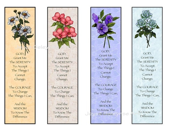 Instant Printable Bookmarks Flowers Serenity Prayer: Digital