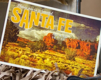 Vintage Postcard Save the Date (Santa Fe, New Mexico) - Design Fee