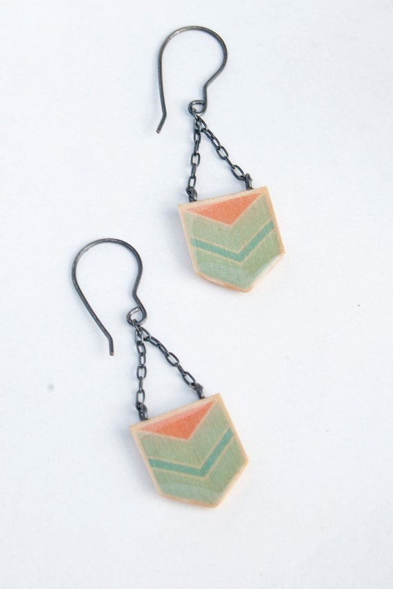 Chevron Dangles - Wooden Geometric Earrings in Mint and Pink Coral