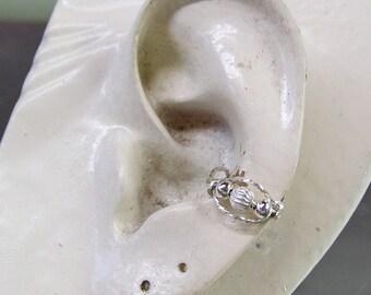 Ear Cuff -- Delicate Fluted Sterling Silver Bead Ear Cuff Ear Band Ear Wrap