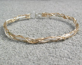 Bracelet - Thin Grapevine Design in Silver and Gold Wire - Wirewrapped Bracelet - Two Tone Bracelet - Unique Gift - Wire Wrapped Bangle