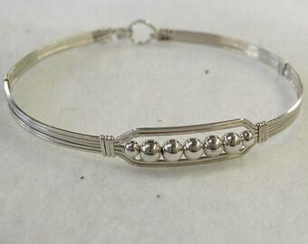 Five Little Silver Beads Wire-Wrapped Bracelet