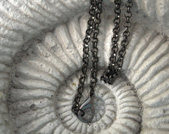 "Premium Quality Gunmetal  Black Gunmetal  Rollo Necklace 16"""