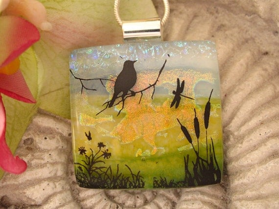 Bird Necklace - Dichroic Glass Jewelry - Dichroic Necklace -  Fused Glass Pendant  Jewelry 091712p109