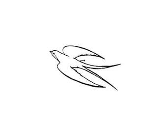 Swallow in Flight Rubber Stamp Bird