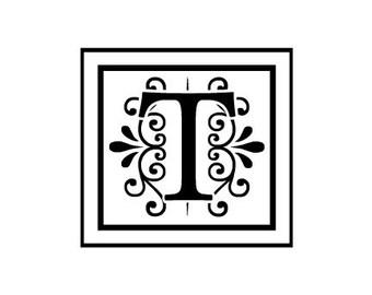 custom Monogram rubber stamp pick a letter