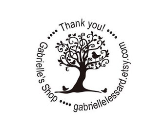 Thank you whimsical tree Custom Rubber Stamp
