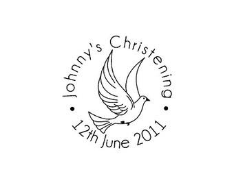 Christening Peace dove custom rubber stamp