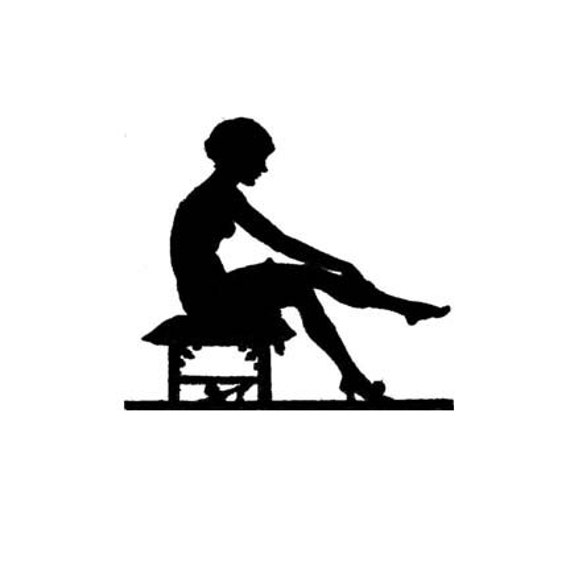 CLEARANCE Sexy woman silhouette putting on stockings Rubber Stamp Vintage