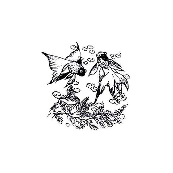 CLEARANCE koi fish Rubber Stamp