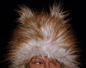 Blonde Wolf Fur Hat with Ears Furry Foxy Light Gray Brown Spike Fur Adult winter Warm Fuzzy Hat