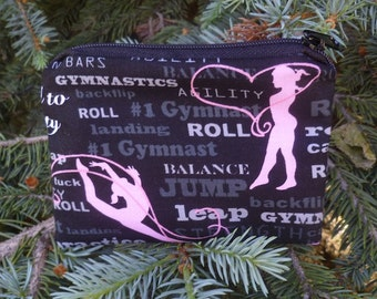 Gymnastics coin purse, gift card pouch, credit card pouch, The Raven