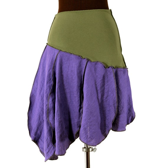 Petalista linen skirt in purple and olive green L to XXL