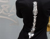 Womens Hand Illustrated Spine Bone long fitted hoodie jacket small