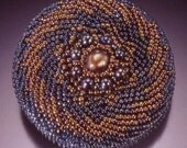 Gold& Blue Petrol Beaded Brooch with Pearls . OOAK Circle Pin. Beadwoven Mandala . Statement Brooch - Evening Star by enchantedbeads on Etsy