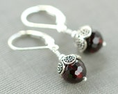 Garnet Earrings, Garnet Jewelry, Drop Earrings, January Birthstone, Red Jewelry, Red Earrings, Sterling Silver and Garnet, Sugar