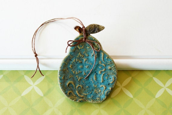 Reserved for Sarah, Ceramic Pear Ornament