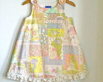 Hearts, Birds & Butterflies Newborn, Baby, Toddler Girls Dress   Sizes Newborn to Girls 6T   Pastel Dress with Lace Ruffle Trim