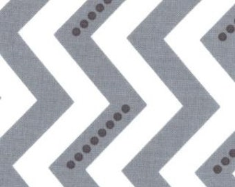 Vanessa Christenson,  Simply Color, Stripe Dotted Zig Zag Graphite Gray Fabric - Half Yard