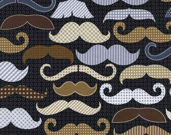 Timeless Treasures Menswear, Moustaches Black Fabric - Half Yard
