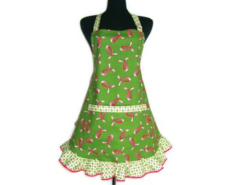 Retro Kitchen Apron for Women , Pink Ribbons on Green , Breast Cancer Awareness