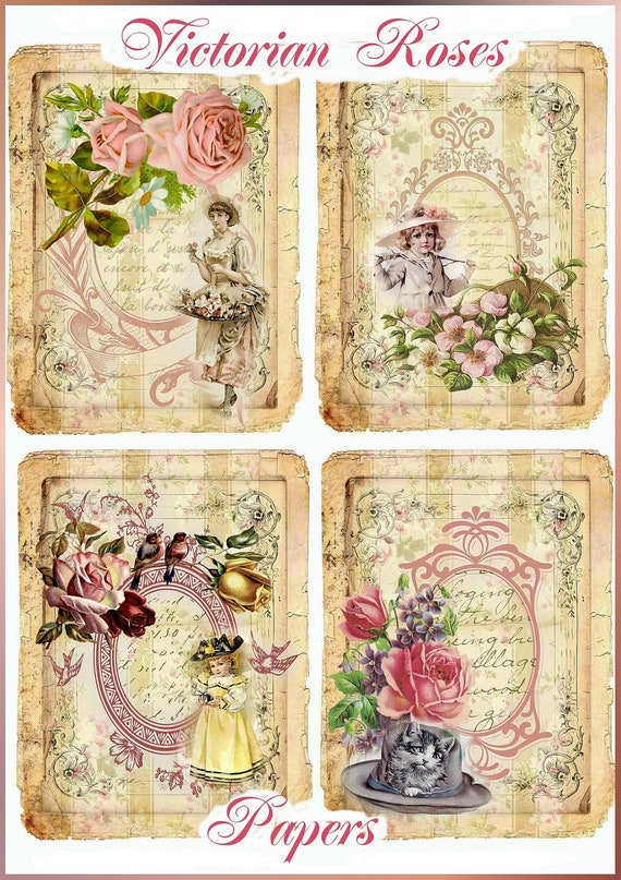 Vintage Victorian Roses Set of 8 Papers Mini Collages Maud Humphrey Children U-PRINT  INSTANT DOWNLOAD