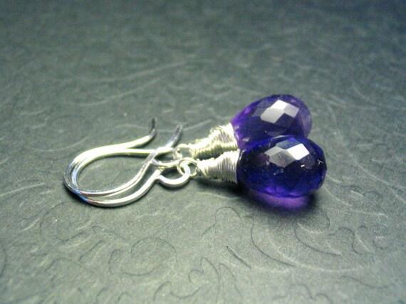 Amethyst Gemstone Sterling Silver Teardrop Dangle Earrings