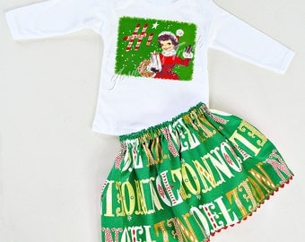 Christmas Skirt Set Custom Noel Girl Holiday Retro 4 6 8 10 12 14 16 Vintage