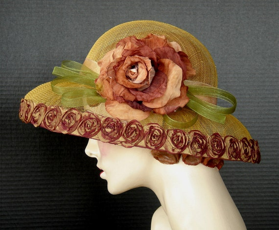 Sinamay Summer Hat In Dark Gold With Cinnamon Millinery Rose
