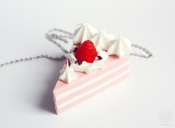 Cake Slice Necklace - Strawberry Shortcake Miniature Sweet Kawaii Jewelry