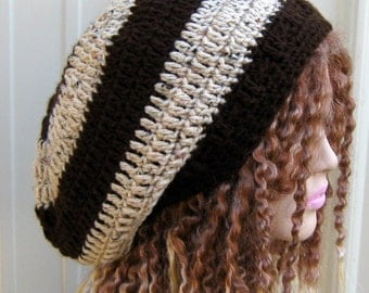 Slochy beanie, woman or man brown tweed Hippie Dread Tam slouchy beanie hat handmade
