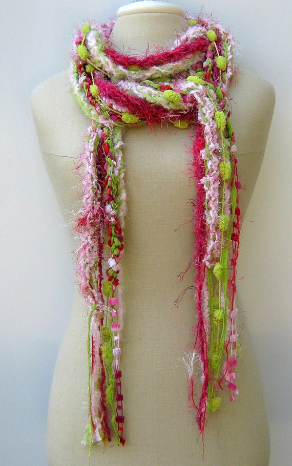 Pink Lime Gypsy Fringe Braids Scarf skinny lariat vegan Hippie neck wear