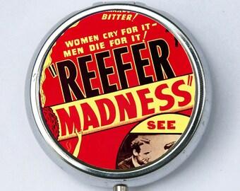 Reefer Madness pill case pillbox holder pill boxes pulp weird anti drug
