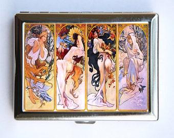 Art Nouveau Girls Cigarette Case id case Wallet Business Card Holder mucha four seasons