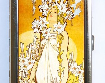 Art Nouveau lily Girl Cigarette Case id case Wallet Business Card Holder mucha goddess flowers