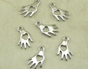 6 TierraCast Heart Hand Charms Left Right Hand Charms > Giving Love Manos - Rhodium Plated Lead Free Pewter - I ship Internationally 2056