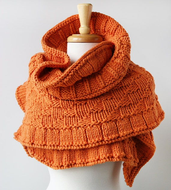 Rococo Knit Shawl / Wrap - Pumpkin Orange - Merino Wool Knit Oversized Scarf - Fall Winter Fashion