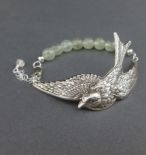 silver sparrow bracelet cuff with prehnite gemstone beads
