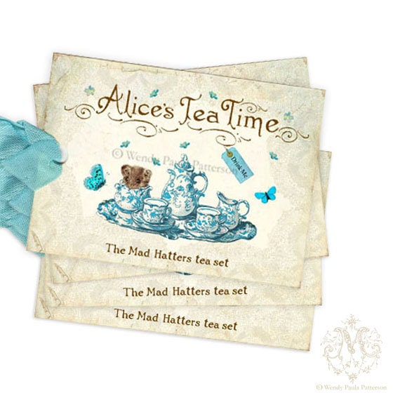 Alice in Wonderland gift tags, tea party, mad hatter, doormouse, tea set, blue, Illustration, blue, butterfly