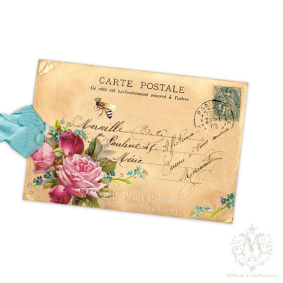 French Bee Gift Tags, Pink Roses, Forget me nots, Carte Postale, Vintage Postcard