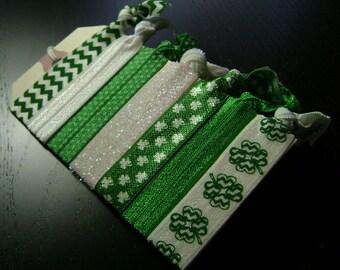 Shamrock Green and White Hair Ties ... 7 ct.