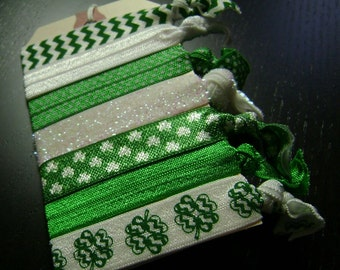 Shamrock Green and White Hair Ties ... 7 ct.