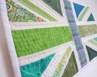 Green Union Jack Wall Hanging - 'Green Britain No19' - handmade patchwork textile art flag