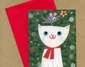 Holiday White Cat Notecard Set